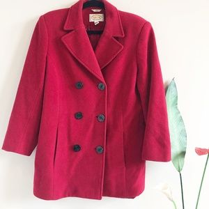 Talbots Red Double Breasted Wool Pea Coat | 12
